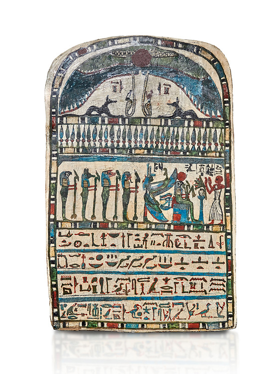 Ancient Egyptian stele dedicated by high priest Padiamenemipet to Ra-Harakhty, limestone, Late Period, 26th Dynasty, (580-520 BC), Deir el-Medina, Cat 1574. Egyptian Museum, Turin. white background, <br /> <br /> the round topped stele is dedicated by high priest Padiamenemipet to Ra-Harakht, Isis and the 4 sons of Horus. It was gifted by the Cairo Museum. .<br /> <br /> If you prefer to buy from our ALAMY PHOTO LIBRARY  Collection visit : https://www.alamy.com/portfolio/paul-williams-funkystock/ancient-egyptian-art-artefacts.html  . Type -   Turin   - into the LOWER SEARCH WITHIN GALLERY box. Refine search by adding background colour, subject etc<br /> <br /> Visit our ANCIENT WORLD PHOTO COLLECTIONS for more photos to download or buy as wall art prints https://funkystock.photoshelter.com/gallery-collection/Ancient-World-Art-Antiquities-Historic-Sites-Pictures-Images-of/C00006u26yqSkDOM