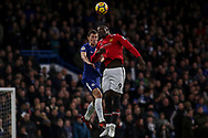 Andreas Christensen of Chelsea and Romelu Lukaku of Manchester United jump for the ball.<br /> Premier league match, Chelsea v Manchester United at Stamford Bridge in London on Sunday 5th November 2017.<br /> pic by Kieran Clarke, Andrew Orchard sports photography.