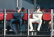 Chris Woakes of England sitting on the England team balcony looks concerned as the Australian total builds towards 500 during the International Test Match 2019, fourth test, day two match between England and Australia at Old Trafford, Manchester, England on 5 September 2019.