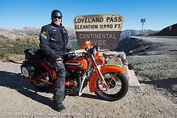 """Randy Aron on his 1929 Harley-Davidson JD named """"Lucille"""" at the top of Loveland Pass during Stage 10 (278 miles) of the Motorcycle Cannonball Cross-Country Endurance Run, which on this day ran from Golden to Grand Junction, CO., USA. Monday, September 15, 2014.  Photography ©2014 Michael Lichter."""