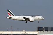 F-GRHV Airfrance Airbus A319 passenger jet at takeoff Photographed at Malpensa Airport, Milan, Italy