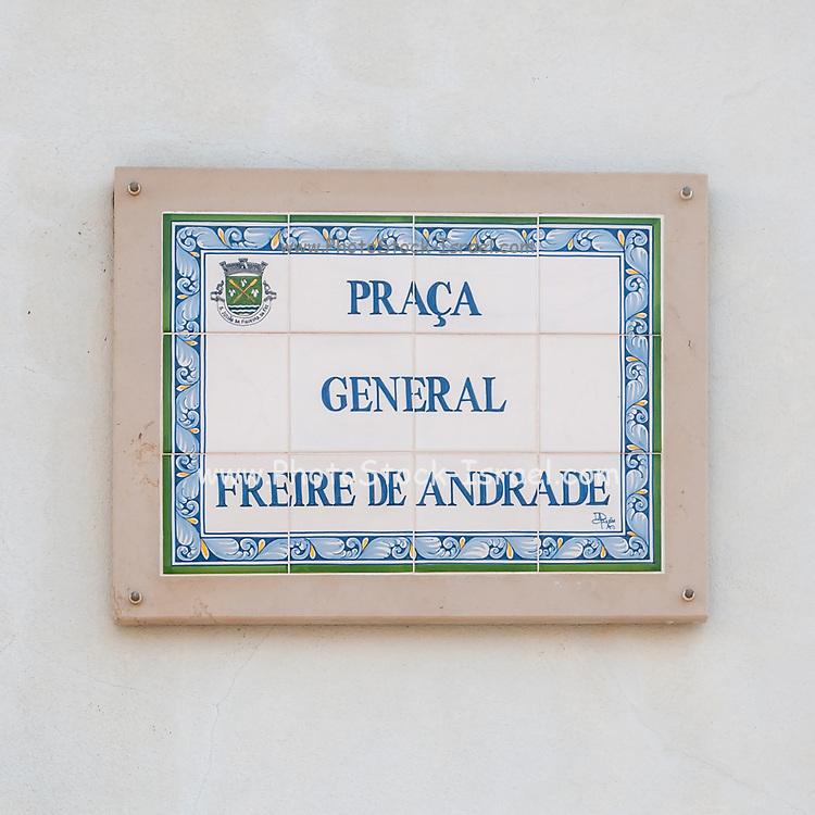 Painted ceramic street sign of Praca General Freire de Andrade, Figueira da Foz, Portugal