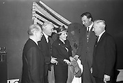 12/02/1963<br /> 02/12/1963<br /> 12 February 1963<br /> Launch reception for Irish Wool Weavers Co-operative Ltd. at the Shelbourne Hotel, Dublin.  Mr. Donal Scully, Assistant General Manager, Coras Trachtala; Mr. W.J. Malone, Secretary, Woolen and Worsted Manufacturers Association; Miss Stella Nyham, Secretary Mantle and Gown Group, Federation of Irish Industries; Mr. J. Hanly, Managing Director of John Hanly and Co. (Nenagh) and Mr. Seamus Sherry, Manager, Providence Woolen Mills, Foxford.