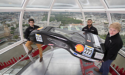 © Licensed to London News Pictures. IMAGE FREE TO USE IN CONNECTION WITH SHELL ECO-MARATHON. 14/06/2016. London, UK. Students from University College London Mechanical Engineering take their ultra-fuel efficient vehicle for a joy ride on the London Eye to celebrate the arrival of Make the Future London featuring Shell Eco-marathon. Shell takes vehicle technology to new heights. An ultra-fuel-efficient car, built by London students from UCL Mechanical Engineering will compete in this year's Shell Eco-marathon, the longest running student competition that measures how far a vehicle can travel on the equivalent of one litre of fuel.<br /> Make the Future London is a festival of ideas and innovation and takes place from June 30  to July 3 at Queen Elizabeth Olympic Park.<br /> To register for free tickets go to: https://makethefuture.shell/tickets<br /> For more information on Shell Eco-marathon please go to:  http://www.shell.com/energy-and-innovation/shell-ecomarathon.html.  Photo credit: Peter Macdiarmid/LNP