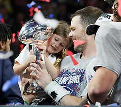 New England Patriots quarterback Tom Brady shares a moment with daughter Vivian Lake Brady after winning his sixth Super Bowl, 13-3, against the Los Angeles Rams in Super Bowl LIII at Mercedes-Benz Stadium in Atlanta on Sunday, February 3, 2019. Photo by Bob Andres/Atlanta Journal-Constitution/TNS/ABACAPRESS.COM