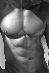 torso of a muscular African American man's body