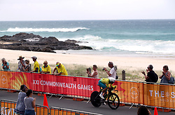Australia's Katrin Garfoot in action during the Women's Individual Time Trial at Currumbin Beachfront on day six of the 2018 Commonwealth Games in the Gold Coast, Australia.