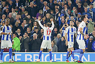 Brighton and Hove Albion striker Glenn Murray (17) celebrates in front of the fans during the Premier League match between Brighton and Hove Albion and West Ham United at the American Express Community Stadium, Brighton and Hove, England on 5 October 2018.