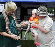 Hamptonburgh, New York - A man shows a toddler a large snake at an exhibit at the fourth annual Earth & Water Festival at Thomas Bull Memorial Park on June 4, 2011.