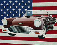 "In the 1950's Ford released many successful models including the Ford Thunderbird which you can see here as in its ""Convertible"" model. The Ford Thunderbird was very poulair among people who wanted the hippest model car. You can still see a Ford Thunderbird in restored versions that can certainly be seen next to more modern cars.<br />