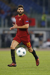 October 31, 2017 - Rome, Italy - Rome, Italy - 31/10/2017..Federico Fazio of Roma runs for the ball during their UEFA Champions League Group C soccer match against Chelsea at the Olympic stadium in Rome..UEFA Champions League Group C soccer match between AS Roma and Chelsea FC at the Olympic stadium in Rome. AS Roma defeating Chelsea FC 3-0. (Credit Image: © Giampiero Sposito/Pacific Press via ZUMA Wire)