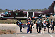 Skydivers board the Cessna 208B for a jump. Photographed in Israel