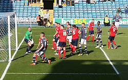 Millwall's Owen Garvan' free kick hits the post and bounces out - Photo mandatory by-line: Robin White/JMP - Tel: Mobile: 07966 386802 29/03/2014 - SPORT - FOOTBALL - The Den - Millwall - Millwall v Blackburn Rovers - Sky Bet Championship