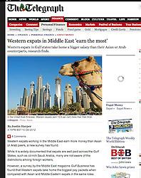 The Telegraph; Skyline of Dubai with camel