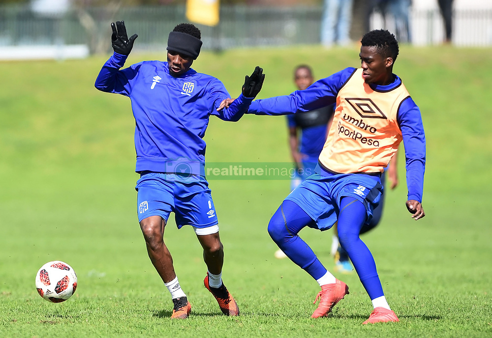 Cape Town-180823- Cape Town City player Teko Modise challenged  by team mate Mpho Matsi at training preparing for their up comingMTN 8 semi-final against Sundowns at Cape Town Stadum.Photographer :Phando Jikelo/African News Agency/ANA