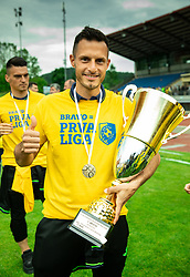 Jaka Ihbeisheh during celebration of NK Bravo, winning team in 2nd Slovenian Football League in season 2018/19 after they qualified to Prva Liga, on May 26th, 2019, in Stadium ZAK, Ljubljana, Slovenia. Photo by Vid Ponikvar / Sportida