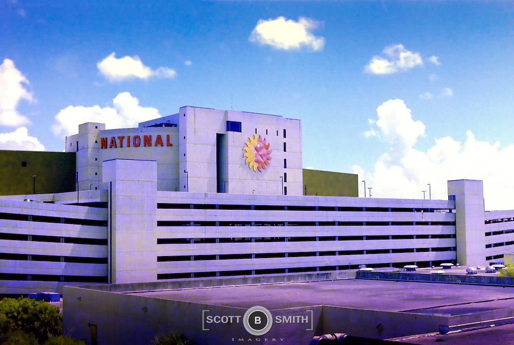 National Airlines, the Sunking Airline, Florida's Airline, Airline of the Stars, general office building and headquarters complex in Miami International Airport, 1979.  Photo taken just prior to the formal merger with Pan American World Airways, and the take down of the National Airlines Sunking logo.