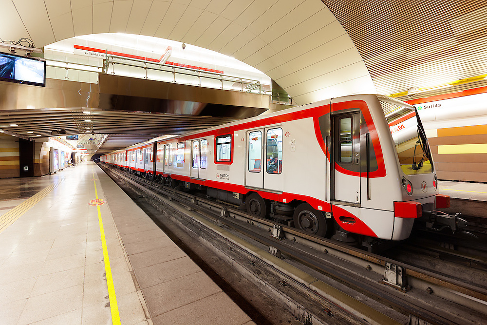 Station and train of the subway transportation system, Santiago de Chile, South America <br /> <br /> For LICENSING and DOWNLOADING this image follow this link: http://www.masterfile.com/em/search/?keyword=700-06531777&affiliate_id=01242CH84GH28J12OOY4<br /> <br /> For BUYING A PRINT of this image press the ADD TO CART button.<br /> <br /> Download of this image is not available at this site, please follow the link above.