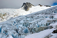 Detail of crevasses in unnamed glacier flowing from Mount Ethelweard and Icemaker Mountain Coast Mountains British Columbia Canada