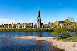 View of city of Perth and St Matthews Church and River Tay, Perthshire, Scotland, UK