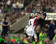 Twickenham, Surrey, 22nd March 2003,  RFU Twickenham Stadium, England, [Mandatory Credit; Peter Spurrier/Intersport Images]<br /> <br /> RBS Six Nations  Rugby England v Scotland<br /> Simon Taylor delects the ball rom the high ball.