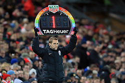 25 November 2017 -  Premier League - Liverpool v Chelsea - The fourth official holds a rainbow coloured LED board promoting the anti-homophobia campaign, Stonewall - Photo: Marc Atkins/Offside