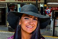 A young American tourist in Montefrio, Granada Province, Andalusia, Spain.