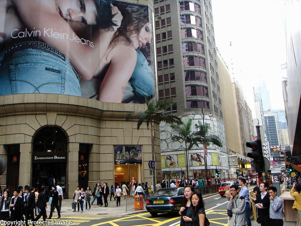 Busy street scene along Queen's Road in Hong Kong