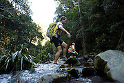 The GeoQuest 48 is Australia's premier adventure race which involves 48 hours of non-stop endurance racing in the major disciplines of trekking, mountain biking and kayaking. Mixed, male or female teams of four navigate through an arduous 200 plus kilometre course that is only revealed to them the evening before the race.<br /> Pic shows...Competitors trek through the upper regions of the Bowman River on day one of the the GeoQuest 48 hour Adventure race held around the Barrington Tops and Forster Great Lakes area on June 6, 2009 in New South Wales, Australia.<br /> Date 6/6/09 Photo by Craig Golding/Getty Images