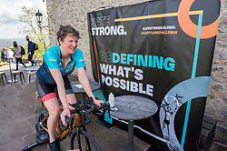 © Licensed to London News Pictures; 26/05/2021; Bristol, UK. KATE STRONG begins her attempt on 3 world records for static cycling, aiming to set world records for the furthest distance cycled on a static bike in 24 hours by a female, the current 1-hour and 12-hour world records at the same time. This world record attempt is taking place on 26-27 May 2021 at The Observatory in Clifton, Bristol, starting at 3pm on Wednesday and finishing at 3pm on Thursday. Guinness has set the minimum target for 24 hours at 680km (422.53 miles) for it to be recognised as a World Record. Photo credit: Simon Chapman/LNP.