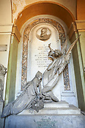 Picture and image  of the stone sculptured monumental tombs depicting a flying angel and the deceased in the Borgeois Realistic style, by sculptor A Allegro 1872.  Section A, no 49, The Staglieno Monumental Cemetery, Genoa, Italy .<br /> <br /> Visit our ITALY PHOTO COLLECTION for more   photos of Italy to download or buy as prints https://funkystock.photoshelter.com/gallery-collection/2b-Pictures-Images-of-Italy-Photos-of-Italian-Historic-Landmark-Sites/C0000qxA2zGFjd_k<br /> If you prefer to buy from our ALAMY PHOTO LIBRARY  Collection visit : https://www.alamy.com/portfolio/paul-williams-funkystock/camposanto-di-staglieno-cemetery-genoa.html