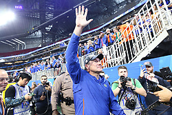 Florida Gators head coach Dan Mullen celebrates after winning the Chick-fil-A Bowl Game at  the Mercedes-Benz Stadium, Saturday, December 29, 2018, in Atlanta. ( AJ Reynolds via Abell Images for Chick-fil-A Kickoff)