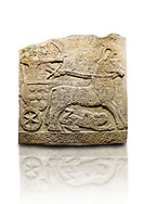 Hittite relief sculpted orthostat stone panel of Long Wall Limestone, Karkamıs, (Kargamıs), Carchemish (Karkemish), 900 -700 B.C. Anatolian Civilisations Museum, Ankara, Turkey<br /> <br /> Chariot. One of the two figures in the chariot holds the horse's headstall while the other throws arrows. There is a naked enemy with an arrow in his hip lying face down under the horse's feet. It is thought that this figure is depicted smaller than the other figures since it is an enemy soldier. The lower part of the orthostat is decorated with braiding motifs.<br /> <br /> On a White Background. .<br />  <br /> If you prefer to buy from our ALAMY STOCK LIBRARY page at https://www.alamy.com/portfolio/paul-williams-funkystock/hittite-art-antiquities.html  - Type  Karkamıs in LOWER SEARCH WITHIN GALLERY box. Refine search by adding background colour, place, museum etc.<br /> <br /> Visit our HITTITE PHOTO COLLECTIONS for more photos to download or buy as wall art prints https://funkystock.photoshelter.com/gallery-collection/The-Hittites-Art-Artefacts-Antiquities-Historic-Sites-Pictures-Images-of/C0000NUBSMhSc3Oo