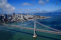 San Francisco-Oakland Bay Bridge with San Francisco Skyline & Marin Headlands (Aerial)
