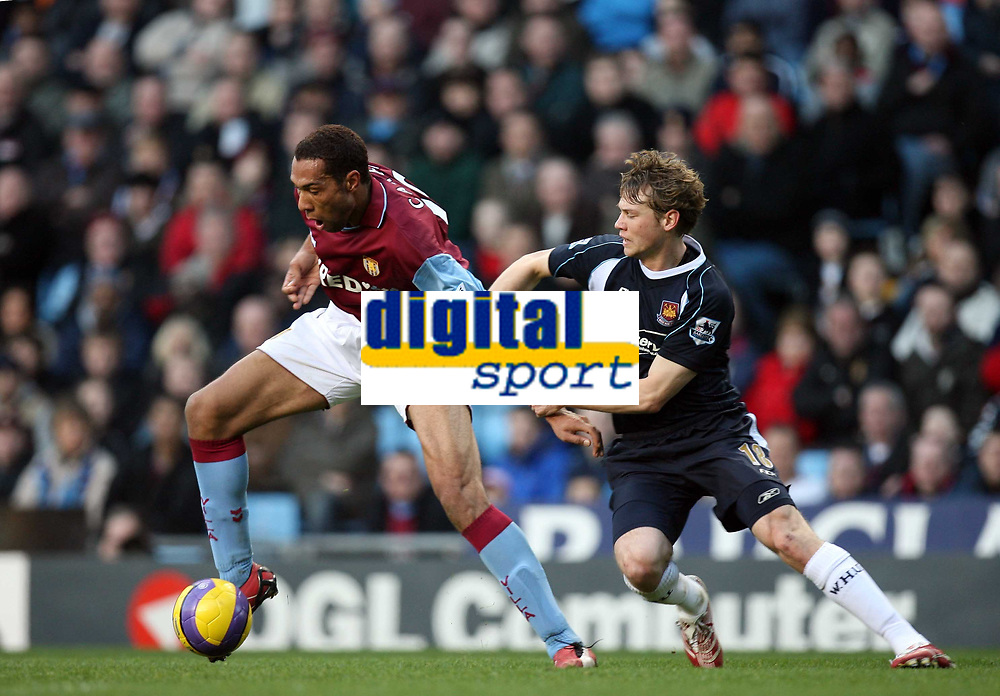 Photo: Rich Eaton.<br /> <br /> Aston Villa v West Ham. The Barclays Premiership. 03/02/2007. John Carew of Aston Villa left gets past Jonathan Spector of West Ham