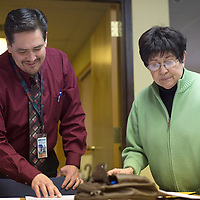 """011314      Cayla Nimmo<br /> <br /> Rose Marie """"Shorty"""" Sandoval files her declaration of candidacy for the office of Mayor with City Clerk Alfred Abeita in Gallup Tuesday afternoon."""