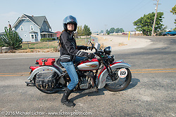 Cris Sommer Simmons riding her 1934 Harley-Davidson VD during Stage 13 (257 miles) of the Motorcycle Cannonball Cross-Country Endurance Run, which on this day ran from Elko, NV to Meridian, Idaho, USA. Thursday, September 18, 2014.  Photography ©2014 Michael Lichter.