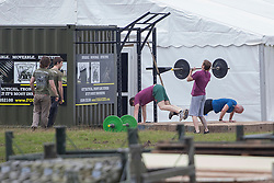 © licensed to London News Pictures. London, UK 19/07/2012. A group of off-duty soldiers exercising at the military base in Hainault Country Park in Redbridge, east London. The base will accommodate 3,000 soldiers during the Olympics. Photo credit: Tolga Akmen/LNP