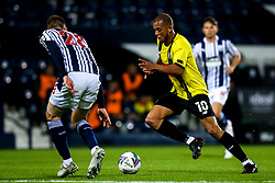 Aaron Martin of Harrogate Town takes on Sam Field of West Bromwich Albion - Mandatory by-line: Robbie Stephenson/JMP - 16/09/2020 - FOOTBALL - The Hawthorns - West Bromwich, England - West Bromwich Albion v Harrogate Town - Carabao Cup