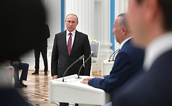 April 29, 2019 - Moscow, Russia - April 29, 2019. - Russia, Moscow. - Russian President Vladimir Putin at a ceremony to award Hero of Labour of the Russian Federation medals at the Moscow Kremlin. (Credit Image: © Russian Look via ZUMA Wire)