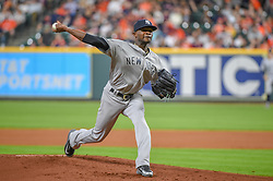 May 1, 2018 - Houston, TX, U.S. - HOUSTON, TX - MAY 01: New York Yankees pitcher Domingo German (65) delivers a pitch during the baseball game between the New York Yankees and Houston Astros on May 1, 2018 at Minute Maid Park in Houston, Texas (Photo by Ken Murray/Icon Sportswire) (Credit Image: © Ken Murray/Icon SMI via ZUMA Press)
