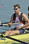 Banyoles, SPAIN, GBR M8+, Tom SOLESBURY,  at the start of the race for lanes in the Men's Eights  FISA World Cup Rd 1. Lake Banyoles  Saturday, 30/05/2009   [Mandatory Credit. Peter Spurrier/Intersport Images]