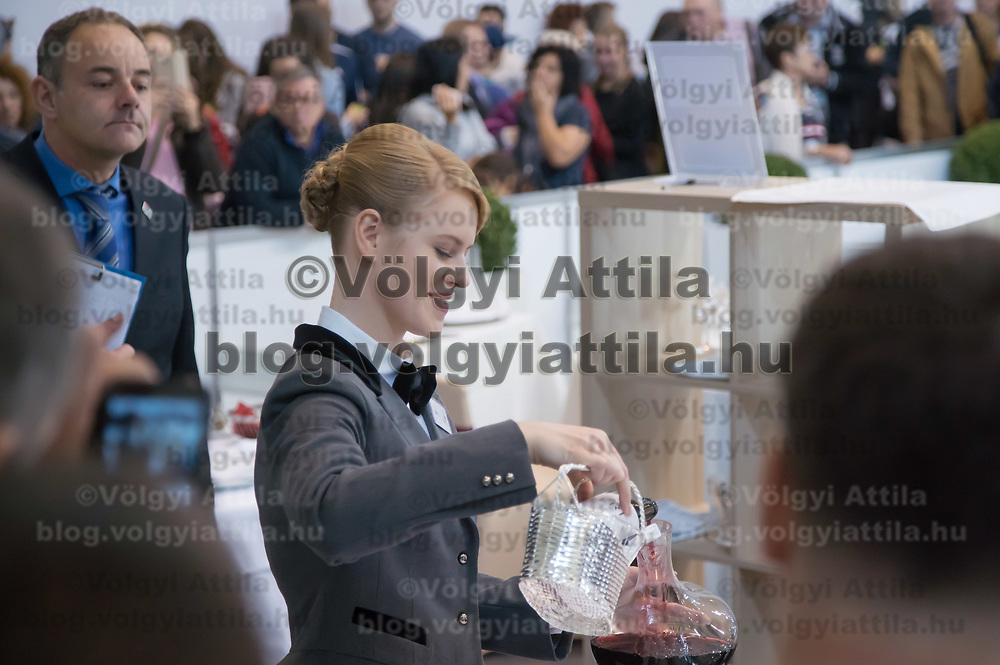 Participant competes in reastaurant serving during the EuroSkills European Championship of young professionals in Budapest, Hungary on Sept. 26, 2018. ATTILA VOLGYI