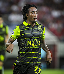 September 12, 2017 - Piraeus, Athens, Greece - Sporting's Portuguese forward Gelson Martins celebrates after scoring a goal during the UEFA Champions League Group D, match between Olympiacos and Sporting CP, at Georgios Karaiskakis Stadium in Piraeus, Greece on September 12, 2017. (Credit Image: © Dpi/NurPhoto via ZUMA Press)