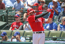 May 9, 2018 - Arlington, TX, U.S. - ARLINGTON, TX - MAY 09: Texas Rangers outfielder Ryan Rua (16) swings the bat in the on-deck circle during the game between the Detroit Tigers and the Texas Rangers on May 9, 2018 at Globe Life Park in Arlington, TX. (Photo by George Walker/Icon Sportswire) (Credit Image: © George Walker/Icon SMI via ZUMA Press)