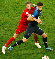 SAINT PETERSBURG, RUSSIA - JULY 10: Olivier Giroud (R) of France national team and Toby Alderweireld of Belgium national team vie for the ball during the 2018 FIFA World Cup Russia Semi Final match between France and Belgium at Saint Petersburg Stadium on July 10, 2018 in Saint Petersburg, Russia. MB Media