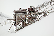 Ruins of mine scaffolding in Longyearbyen, Svalbard.