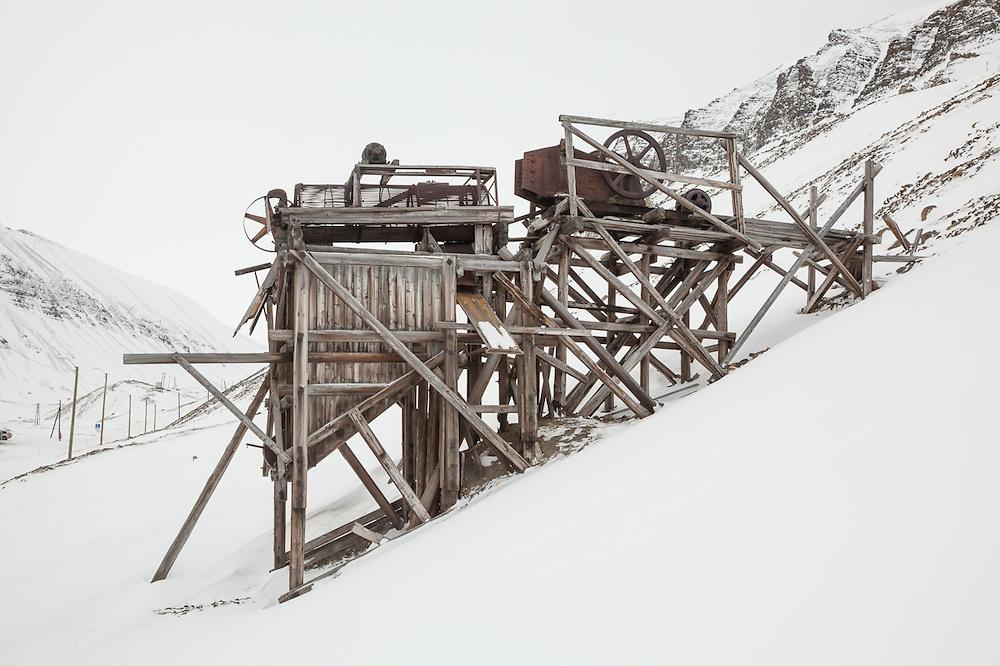 Ruins of mine scaffolding in Longyearbyen, Svalbard.