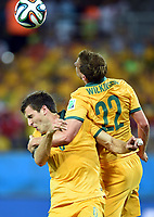 June 13 2014 Australia s Alex Wilkinson r Collider with His teammates Matthew Spiranovic for A  during A Group B Match between Chile and Australia of 2014 FIFA World Cup in The Arena  Stage in  Brazil June 13 2014 Xinhua Liu Dawei  SP Brazil  World Cup 2014 Group B Chile vs Australia<br /> <br /> Norway only<br /> INNGÅR IKKE I FASTAVTALER