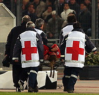 Photo. Javier Garcia<br />25/02/2003 Juventus v Man Utd, Champions League Second Phase, Estadio Delle Alpi<br />Agony for Diego Forlan as he is stretchered off early on